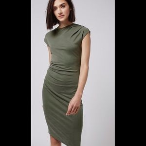 Topshop Asymmetric Drape Dress in Khaki